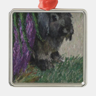 Lop eared  rabbit painting Silver-Colored square decoration