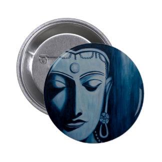 Lord Buddha Blue Pinback Buttons