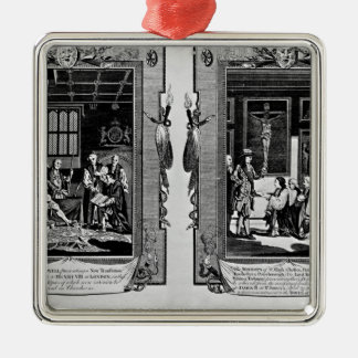 Lord Cromwell presents the bible to Henry VIII Silver-Colored Square Decoration