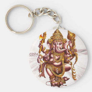 Lord Ganesh Good Luck Charm Basic Round Button Key Ring
