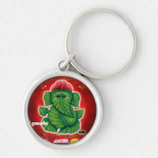 Lord Ganesh Key-chain Silver-Colored Round Key Ring