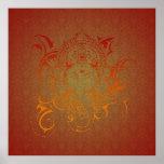 Lord Ganesha God India Hindu red orange yellow Poster