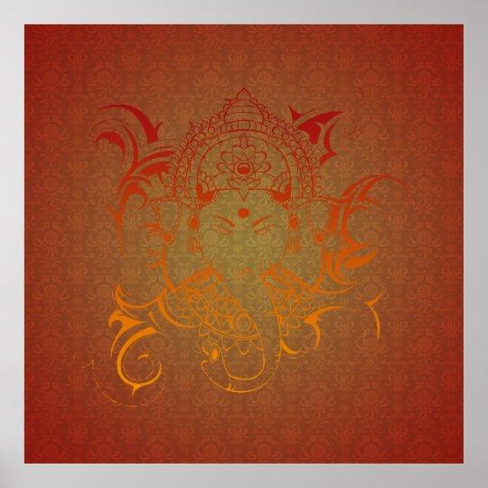 Lord Ganesha God India Hindu red orange yellow