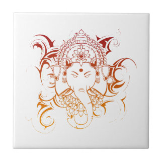 Lord Ganesha India Yoga Meditation Spirituality Small Square Tile