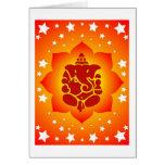 Lord Ganesha On Lotus Design Greeting Card