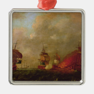 Lord Howe and the Comte d'Estaing off Rhode Silver-Colored Square Decoration