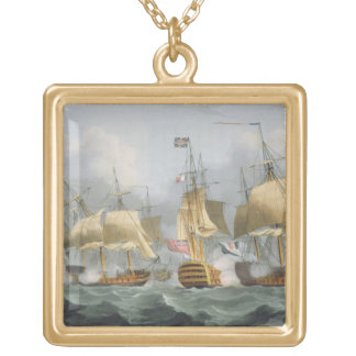 Lord Howe in the Queen Charlotte, Breaking the Ene Gold Plated Necklace