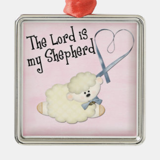 lord is my shepard baby lamb and heart on pink christmas ornament