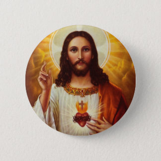 Lord Jesus Christ and the Sacred Heart 6 Cm Round Badge