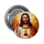 Lord Jesus Christ and the Sacred Heart Pinback Buttons