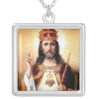 Lord Jesus Christ King of Kings Silver Plated Necklace