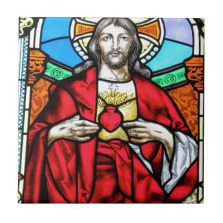 Lord Jesus Christ stained glass window Tile