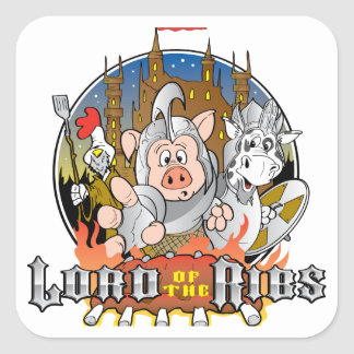 LORD OF THE RIBS BBQ SQUARE STICKER