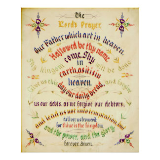 Lord s Prayer Calligraphy 1889 Posters