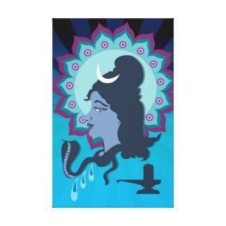 Lord Shiva Digital Illustration with Mandala Hen Canvas Print