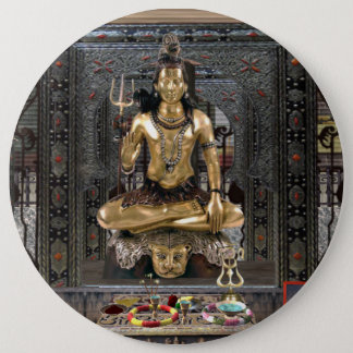 Lord Shiva Hindu Temple Colossal 6 Inch Button