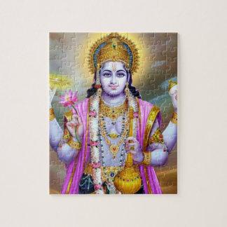 Lord Vishnu Floral Fine Art Jigsaw Puzzle