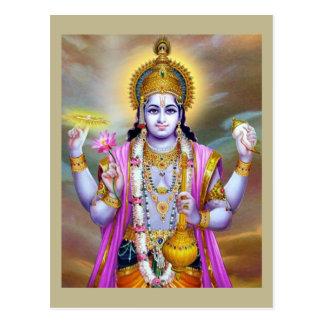 Lord Vishnu Floral Fine Art Postcard
