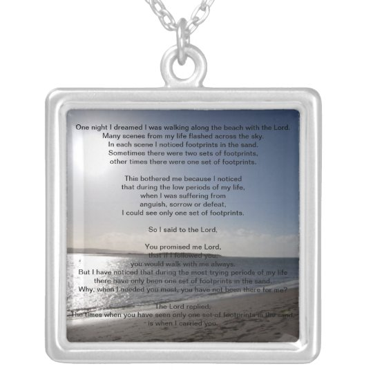Lord's Footprints in the sand sterling silver neck