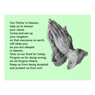 Lord's Prayer Green Postcard