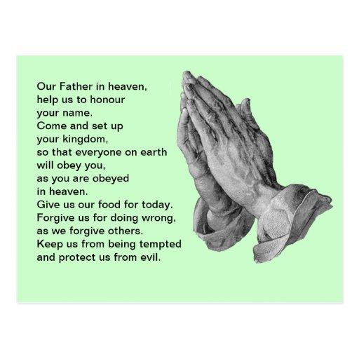 Lord's Prayer Green Postcards