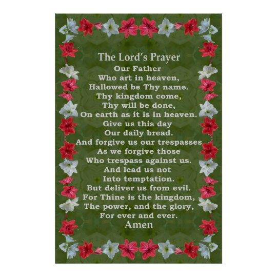 Lord's Prayer in a Amaryllis Frame Poster