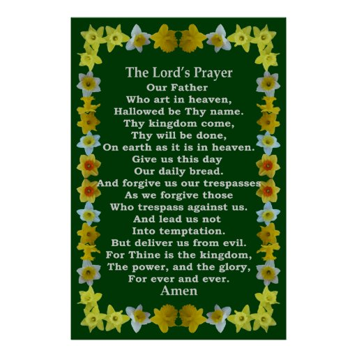 Lord's Prayer in a Daffodil Frame Poster