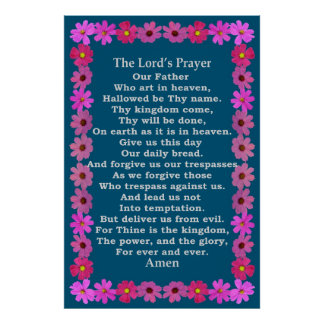 Lord's Prayer in a Pink Cosmos Frame Poster