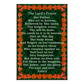 Lord's Prayer in a Pomegranate Frame Poster