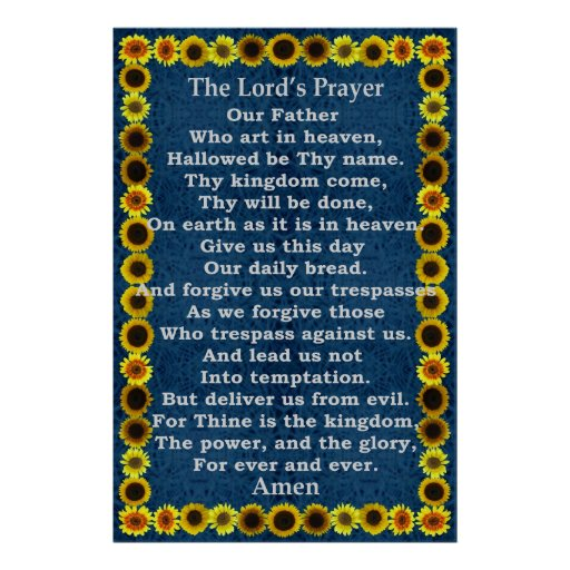 Lord's Prayer in a Sunflower Frame Poster