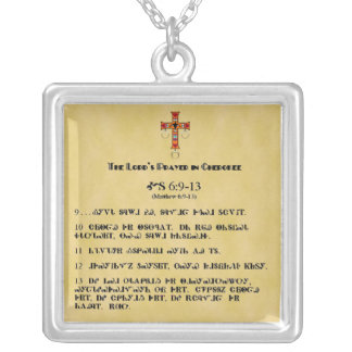 LORD'S PRAYER IN CHEROKEE SQUARE PENDANT NECKLACE