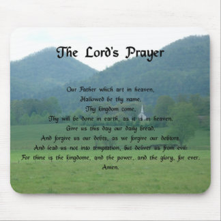 Lord's Prayer in the Mountains Mouse Mat