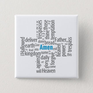 Lord's Prayer Word Cloud 15 Cm Square Badge
