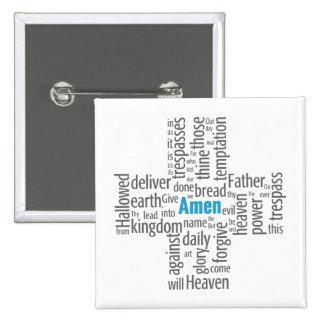 Lord's Prayer Word Cloud 15 Cm Square Badge