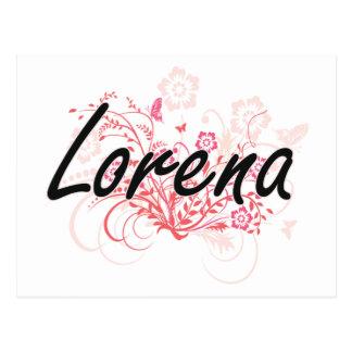 Lorena Artistic Name Design with Flowers Postcard