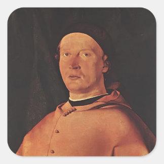 Lorenzo Lotto- Bishop Bernardo de' Rossi Square Sticker