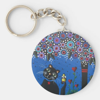Lori Everett_ Day Of The Dead, Black Cat, Cute Art Basic Round Button Key Ring