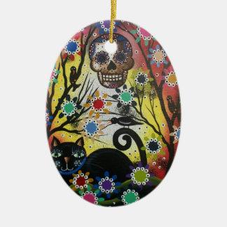 Lori Everett_ Day Of The Dead,Cat,Skull,Ornament Christmas Ornament