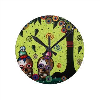 Lori Everett_ Day Of The Dead,Mexican,Skulls,birds Round Clock