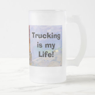 Lorry Driver Big Rig Heavy Trucker Art Frosted Glass Mug