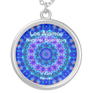 Los Alamos - Blue Lagoon of Liquid Shafts of Light Round Pendant Necklace