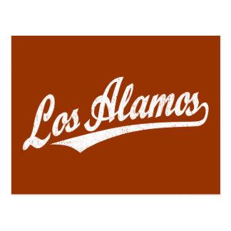 Los Alamos script logo in white distressed Postcards