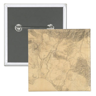 Los Angeles and San Bernardino Topography 15 Cm Square Badge