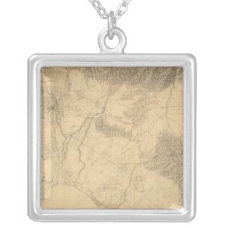 Los Angeles and San Bernardino Topography Square Pendant Necklace
