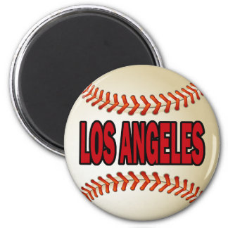 LOS ANGELES BASEBALL 6 CM ROUND MAGNET