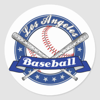 Los Angeles Baseball Round Stickers