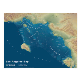 Los Angeles Bay--Sea Rise Map Poster