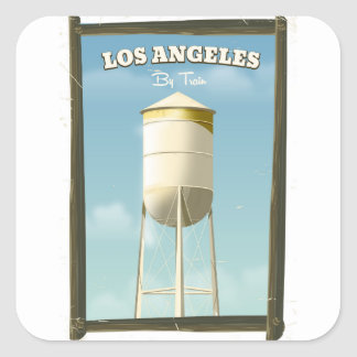 Los Angeles By train poster Square Sticker