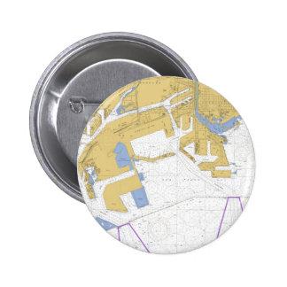 Los Angeles, CA Nautical Harbor Chart 6 Cm Round Badge