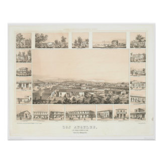 Los Angeles, CA. Panoramic Map 1857 (0903A) Poster